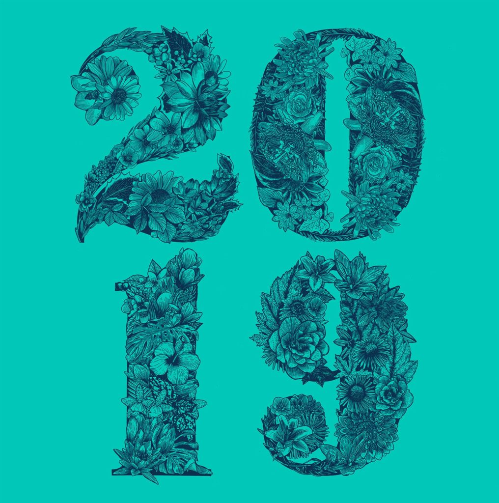 Linework Floral Typography Illustration on a Teal background