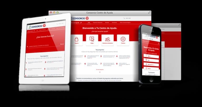 Multiple devices showing the responsive insurance website design, help center ux/ui design.