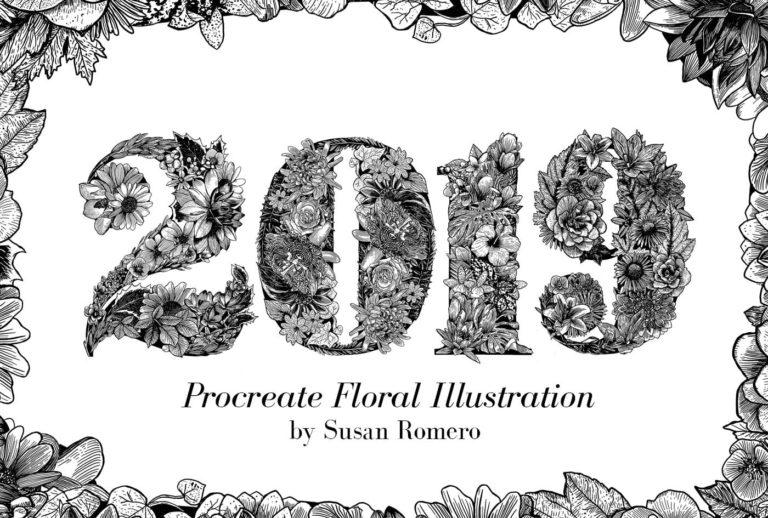 Linework Floral Typography Illustration