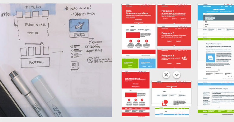 Pencil sketches for the insurance ux/ui design of the customer service website. Mockups and prototypes for the website.