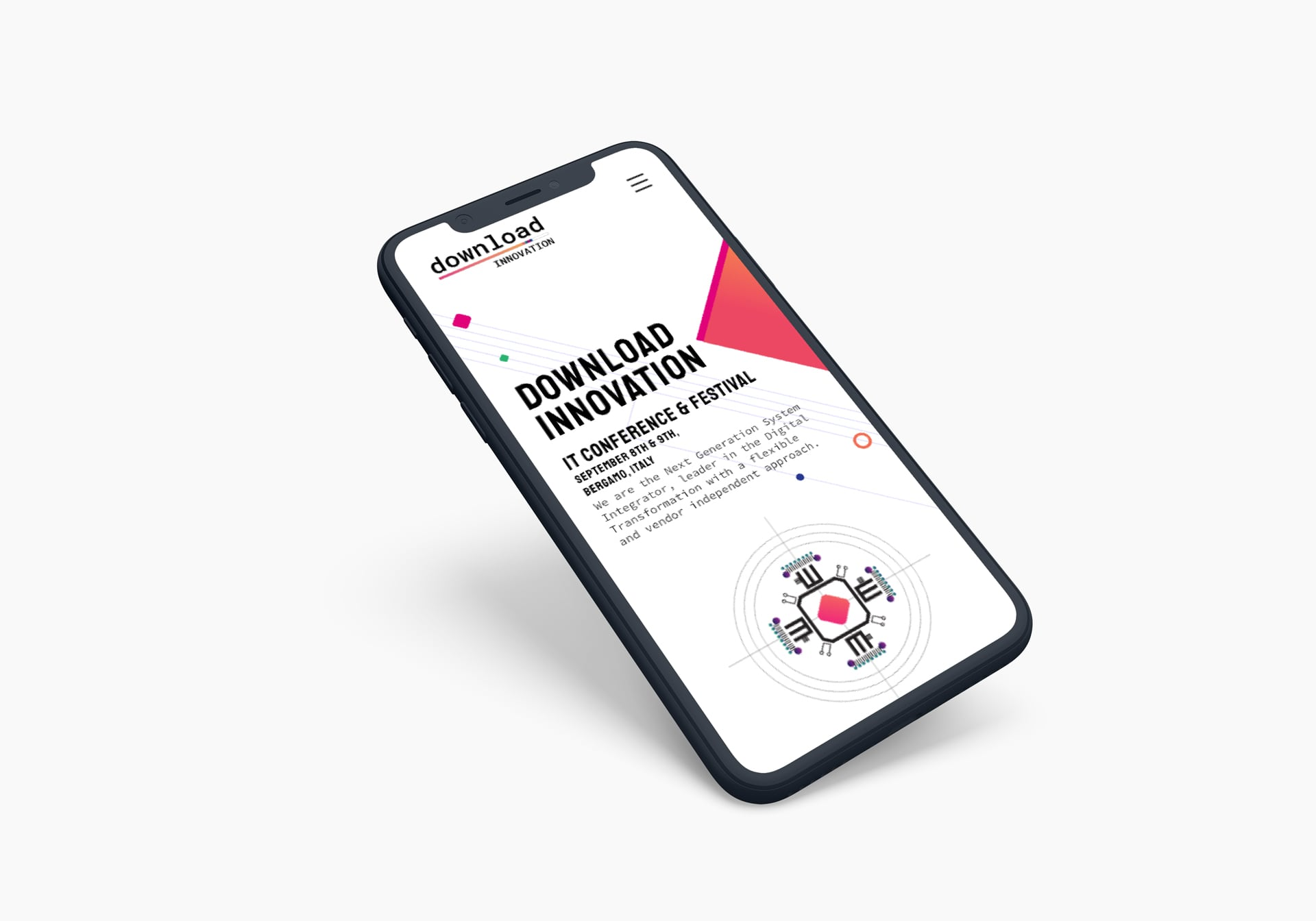 mobile phone showing the website design for the download innovation event 2019.