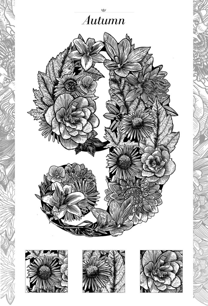 Black Linework Floral Typography Illustration