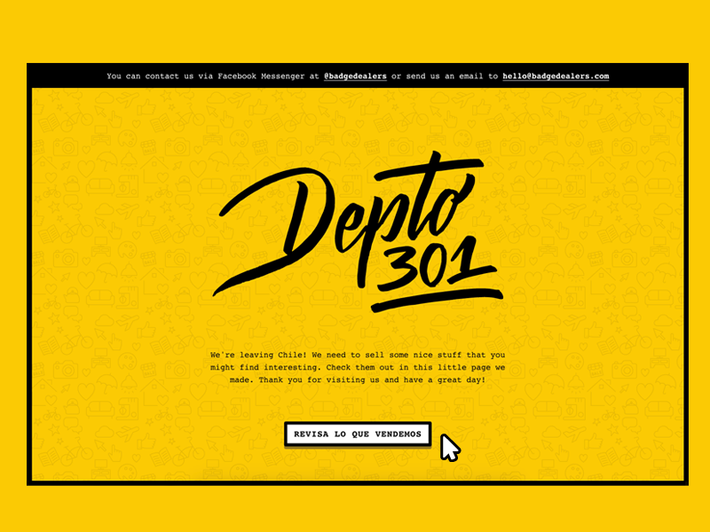 yellow background website design with icon pattern and black font