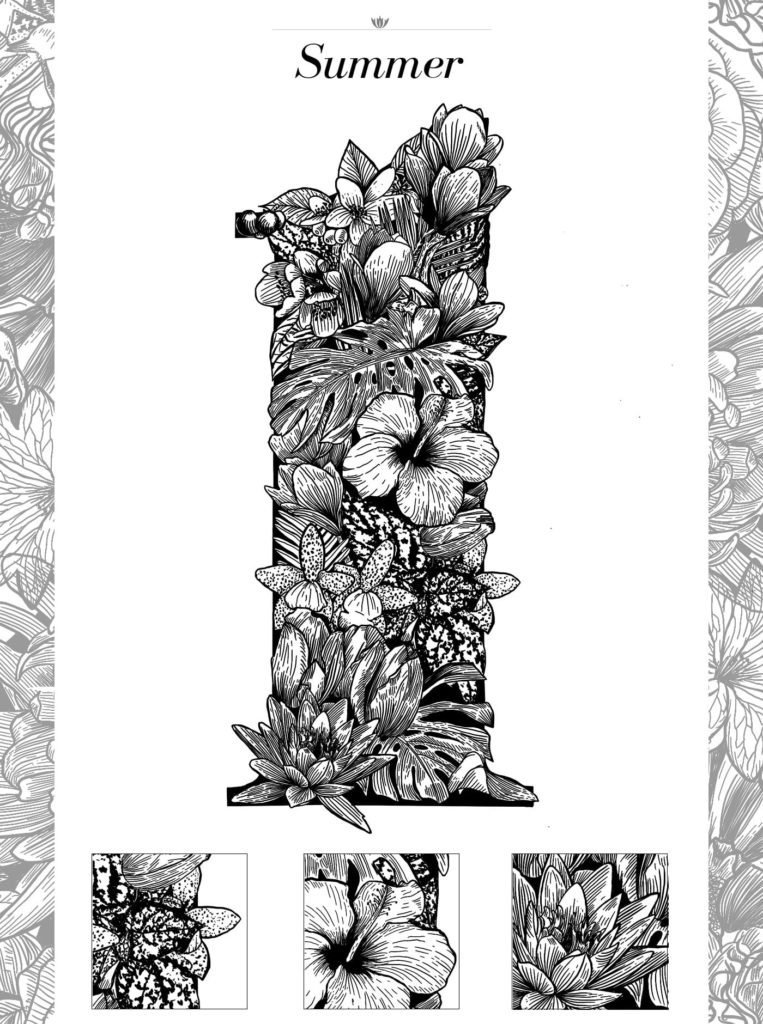 Linework Floral Typography Illustration