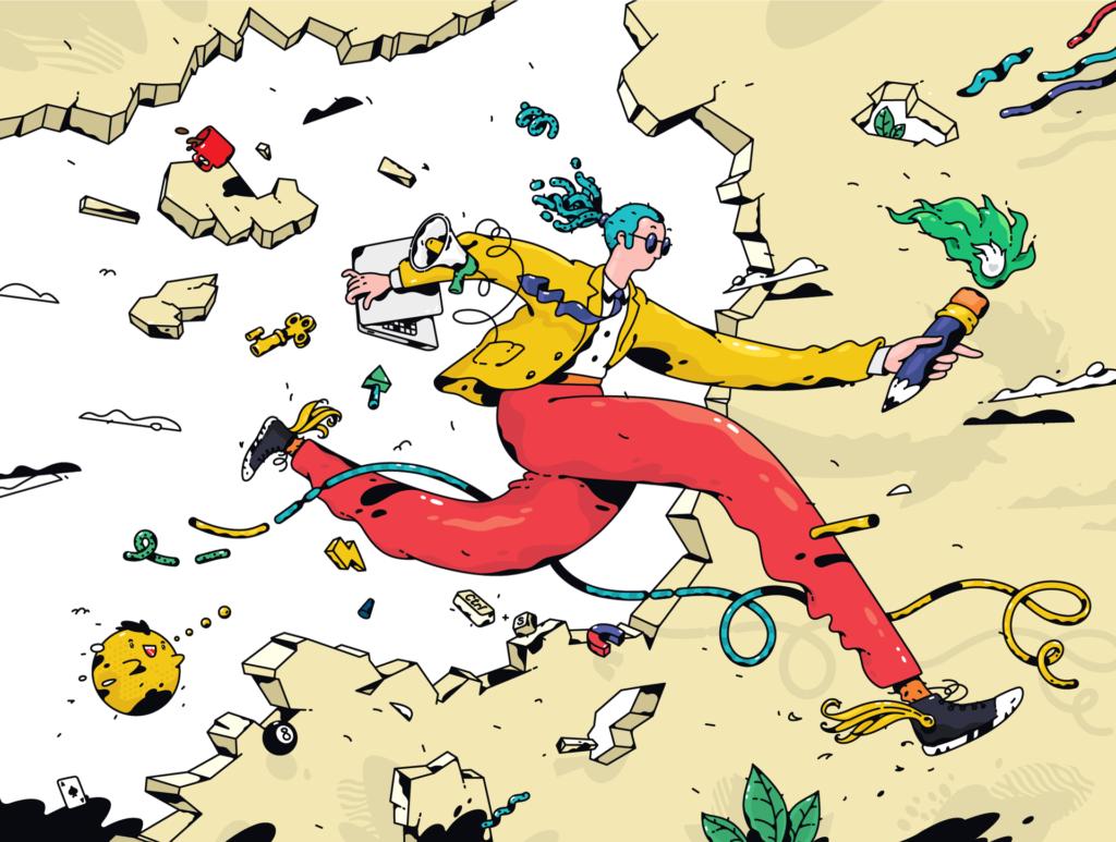 Illustration of a Freelancer - Graphic Web Designer - How To Make Money On Fiverr - badgedealers - Graphic & Web Design Studio - Bergamo, Milano, Italia