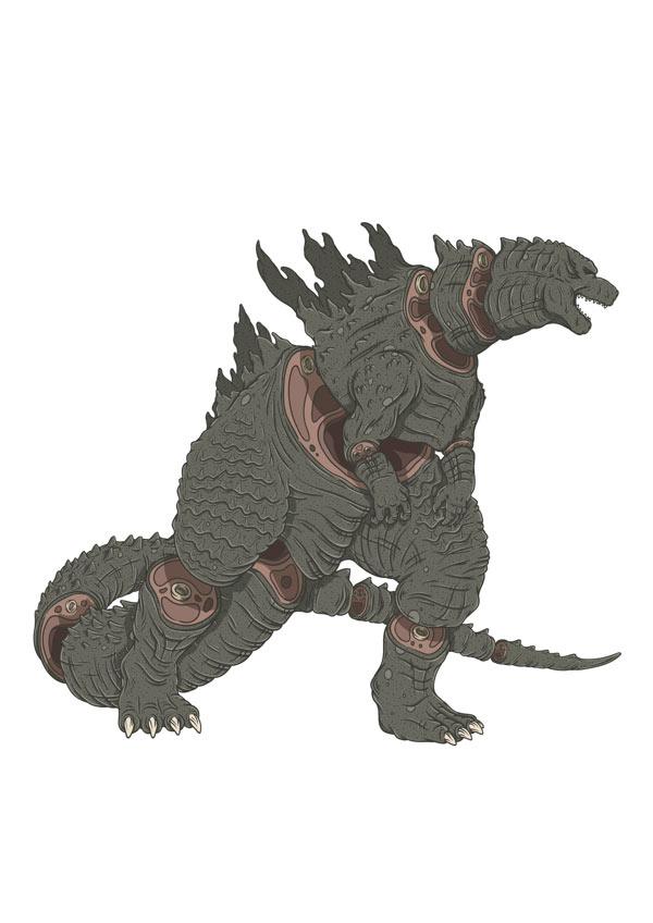 Sliced Godzilla Illustration by Alexandre Godreau
