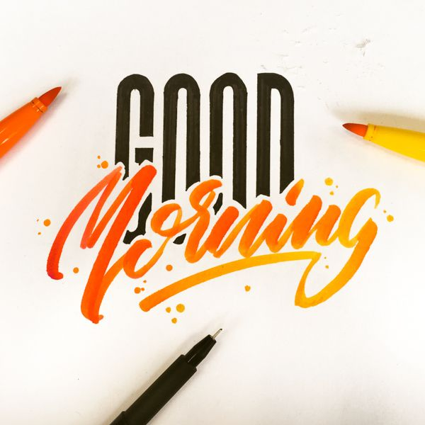 Simple hand lettering style with different techniques